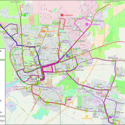 HusumBus - Linien und Haltestellen in Husum