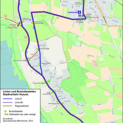 HusumBus - Linie 6/66 und Haltestellen in Hattstedt